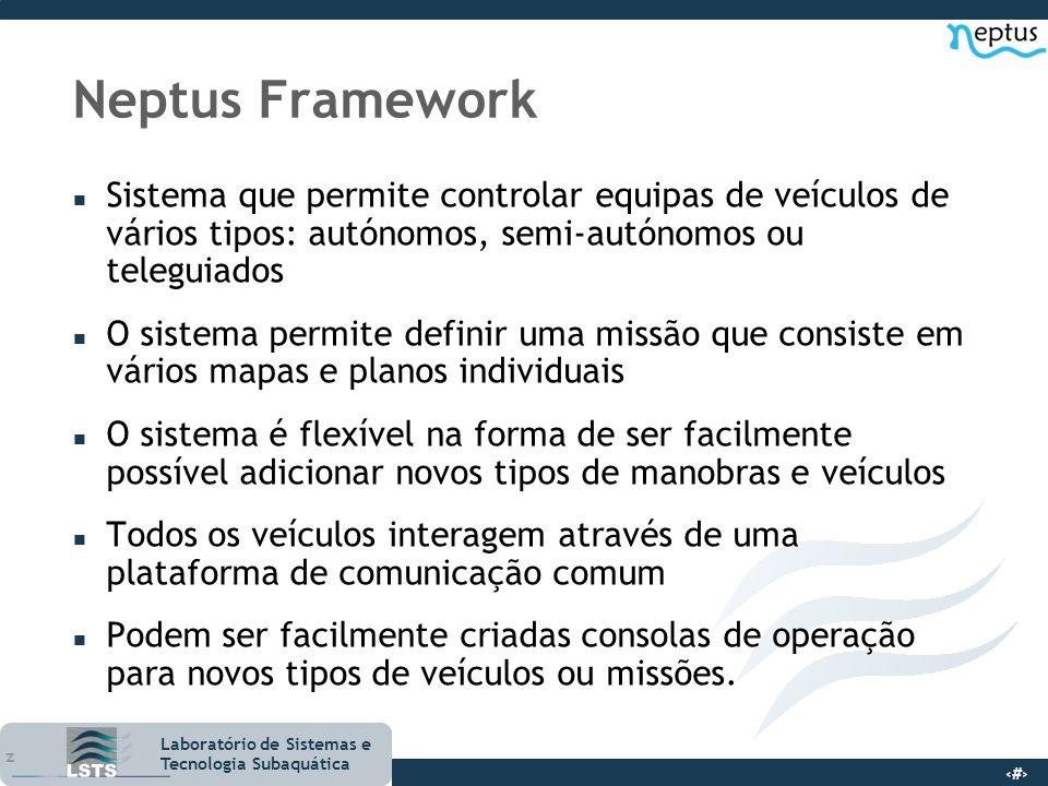 Neptus Framework Sistema que permite controlar equipas de veículos de vários tipos: autónomos, semi-autónomos ou teleguiados.