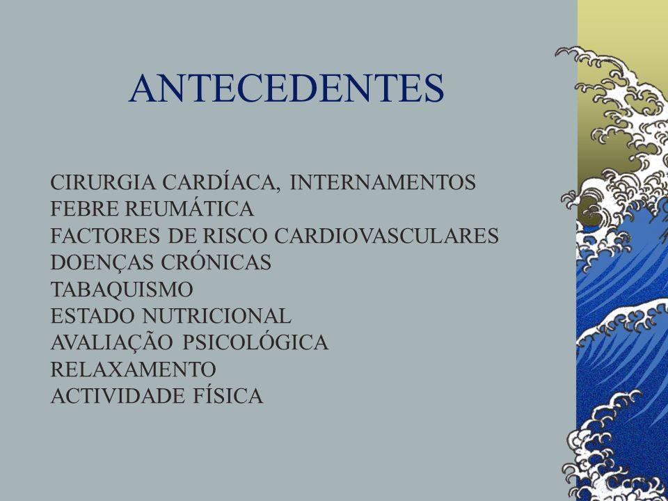 ANTECEDENTES CIRURGIA CARDÍACA, INTERNAMENTOS FEBRE REUMÁTICA
