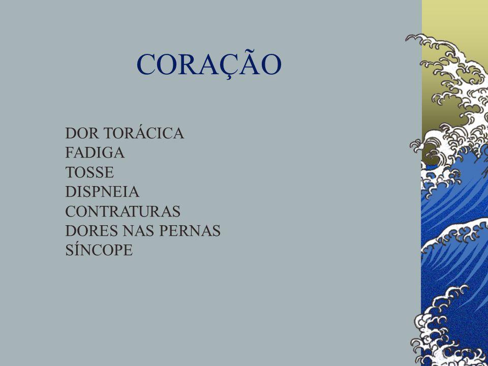 CORAÇÃO DOR TORÁCICA FADIGA TOSSE DISPNEIA CONTRATURAS