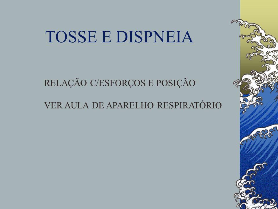 TOSSE E DISPNEIA RELAÇÃO C/ESFORÇOS E POSIÇÃO