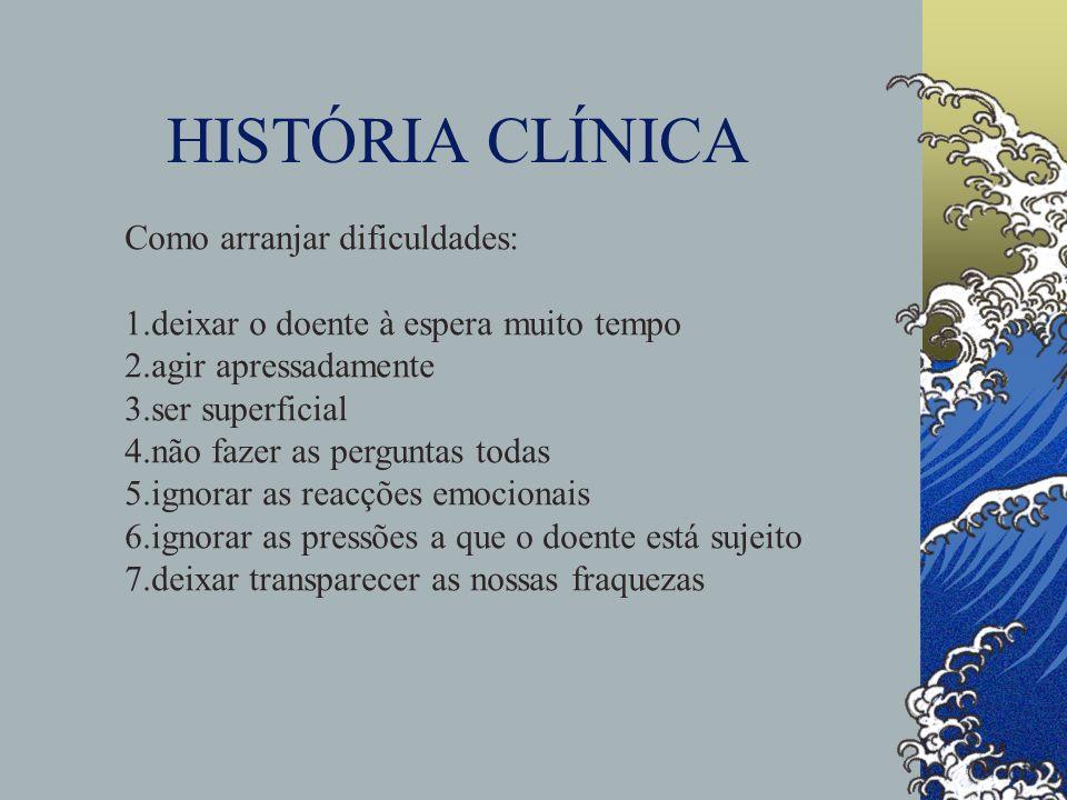 HISTÓRIA CLÍNICA Como arranjar dificuldades: