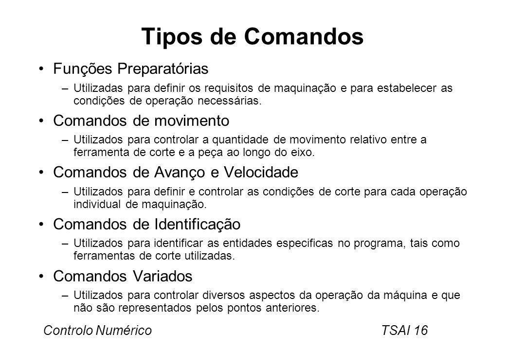 Tipos de Comandos Funções Preparatórias Comandos de movimento