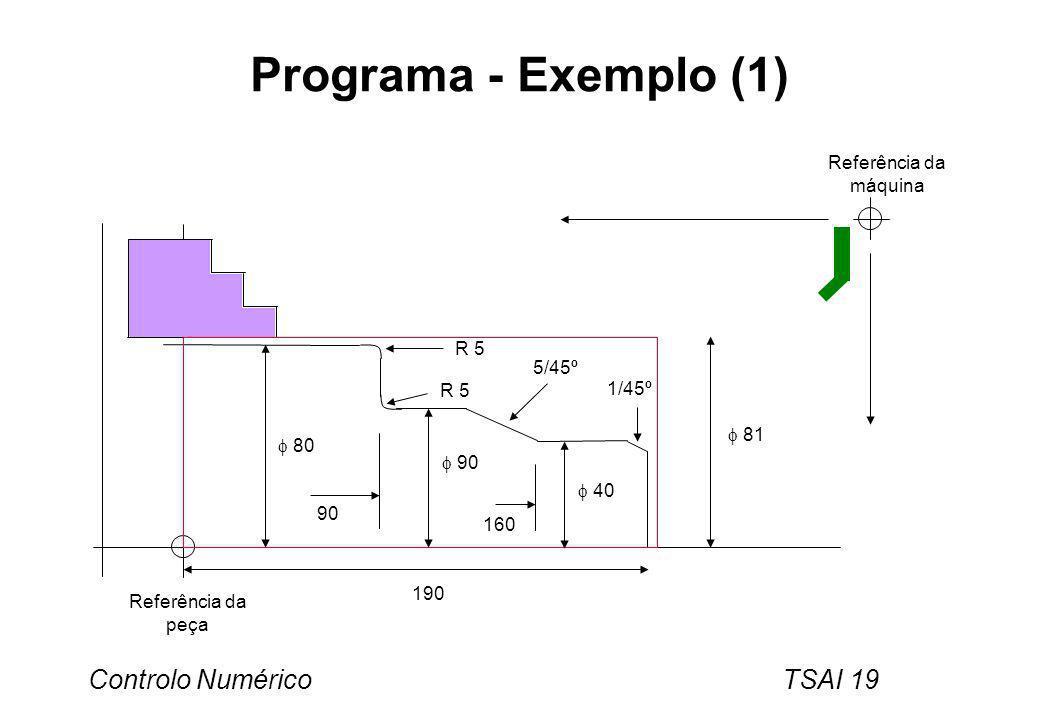 Programa - Exemplo (1) Referência da máquina R 5 5/45º 1/45º  81  80