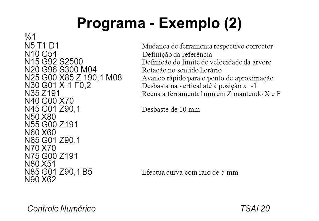 Programa - Exemplo (2) %1. N5 T1 D1 Mudança de ferramenta respectivo corrector.