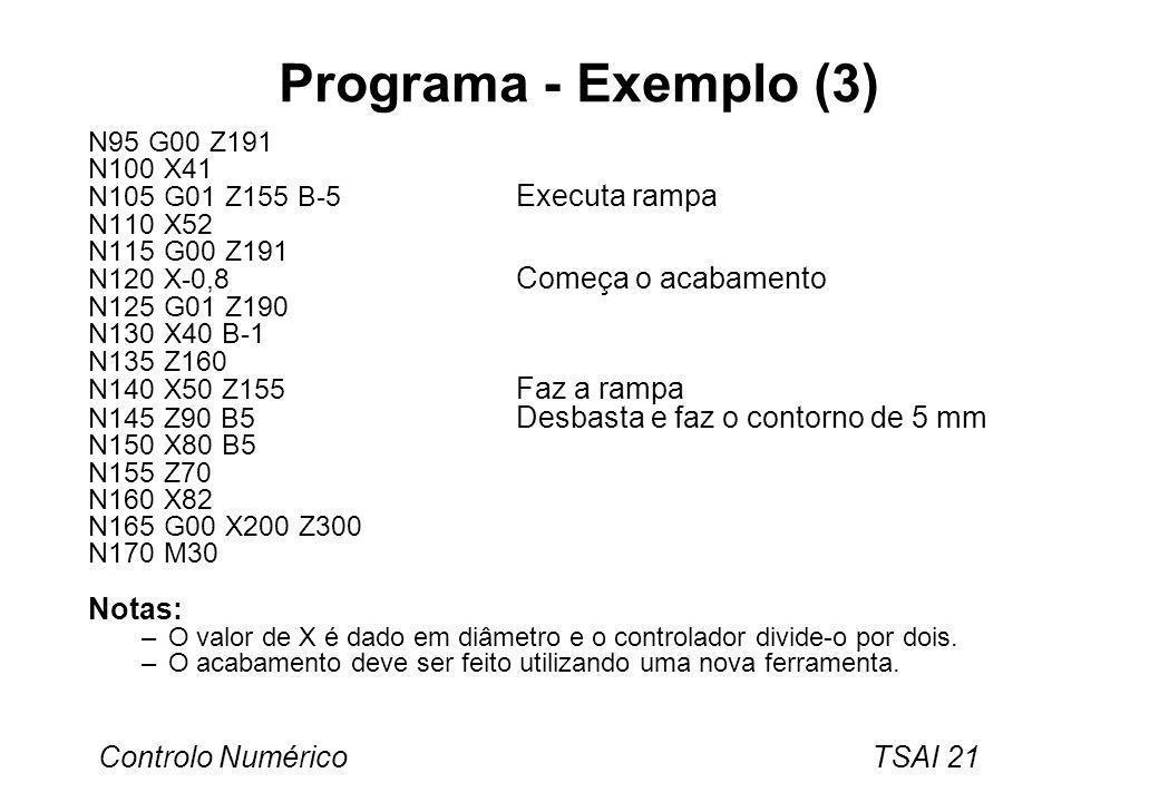 Programa - Exemplo (3) Notas: N95 G00 Z191 N100 X41