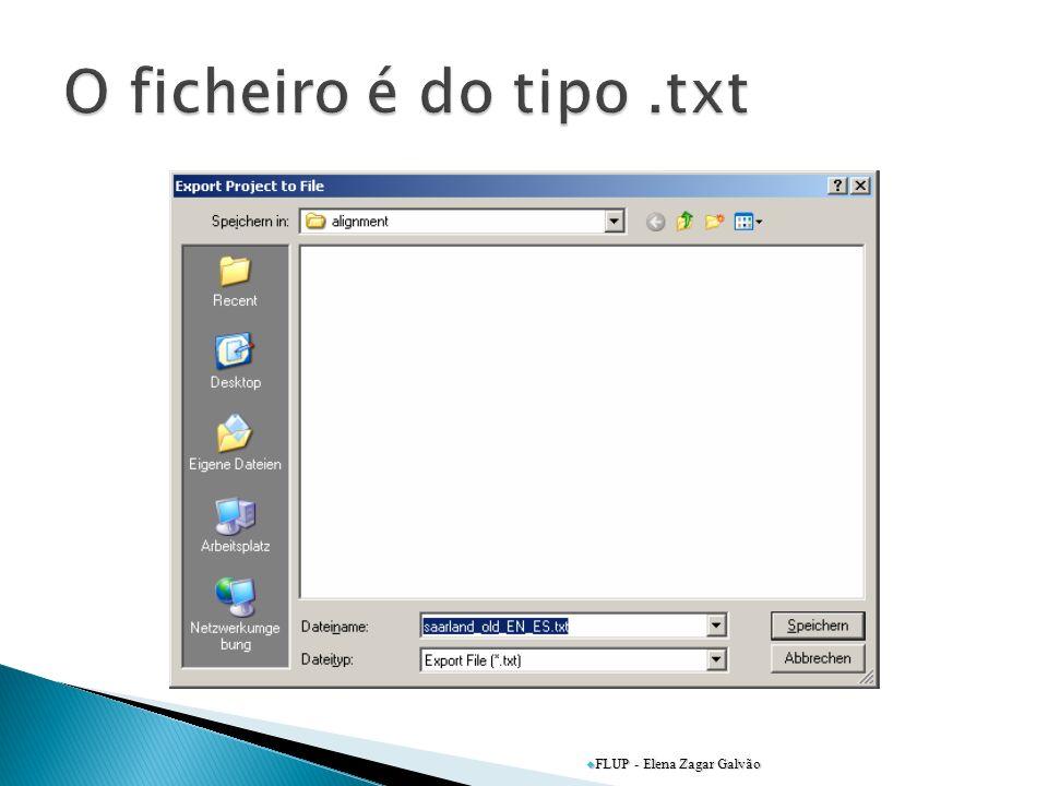 O ficheiro é do tipo .txt FLUP - Elena Zagar Galvão