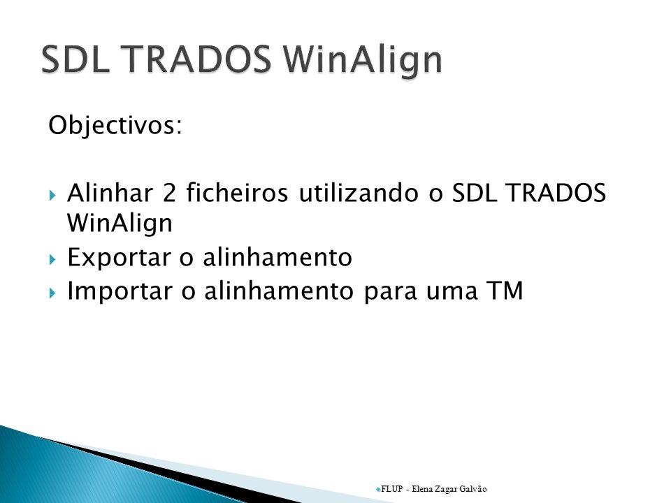 SDL TRADOS WinAlign Objectivos: