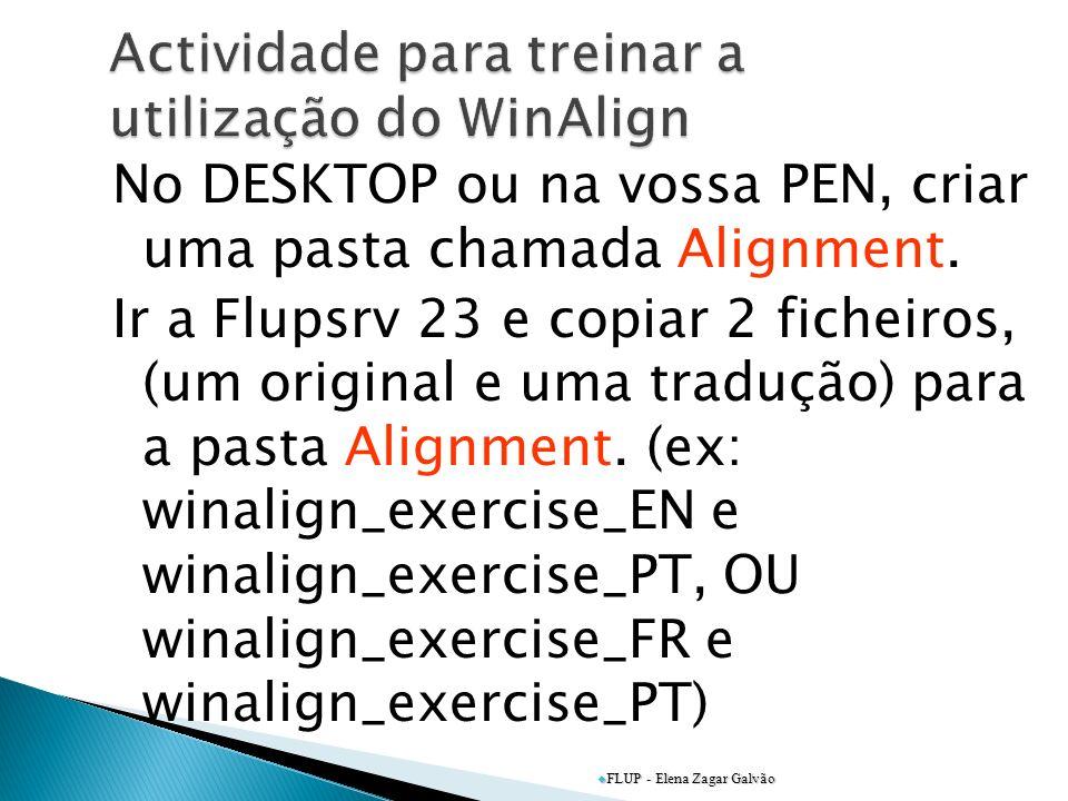 Actividade para treinar a utilização do WinAlign