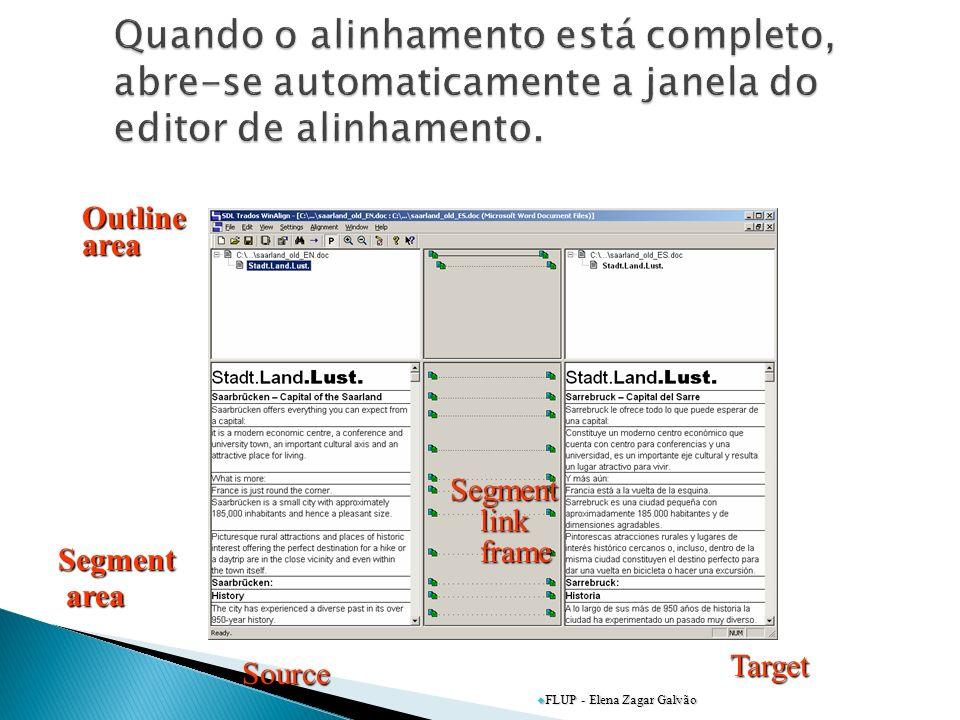 Quando o alinhamento está completo, abre-se automaticamente a janela do editor de alinhamento.