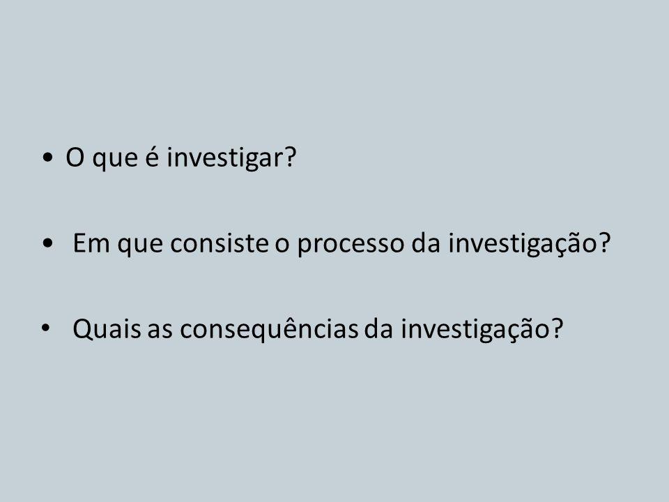 O que é investigar. Em que consiste o processo da investigação.