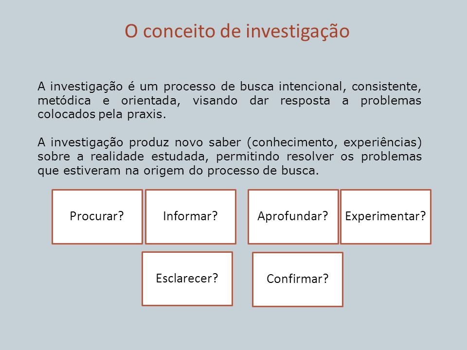 O conceito de investigação