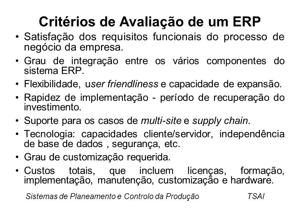 Critérios de Avaliação de um ERP