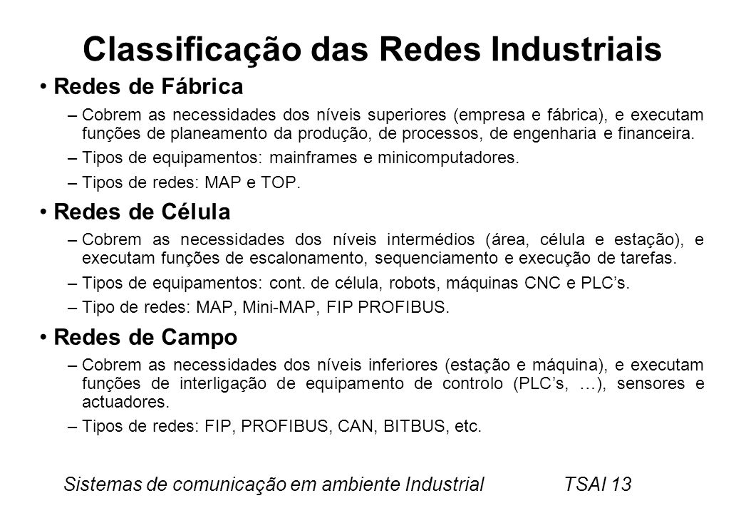Classificação das Redes Industriais