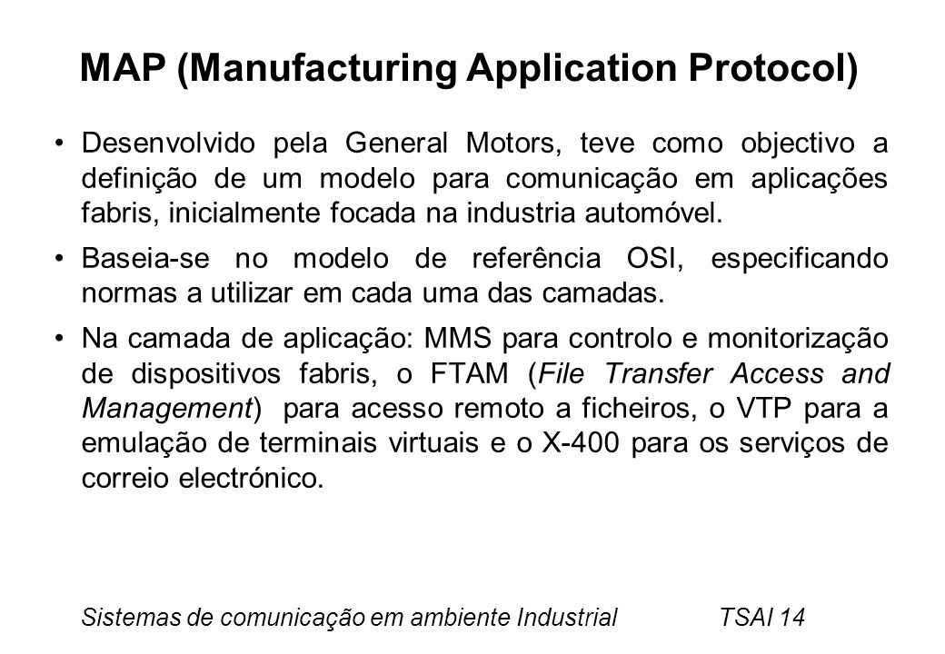 MAP (Manufacturing Application Protocol)