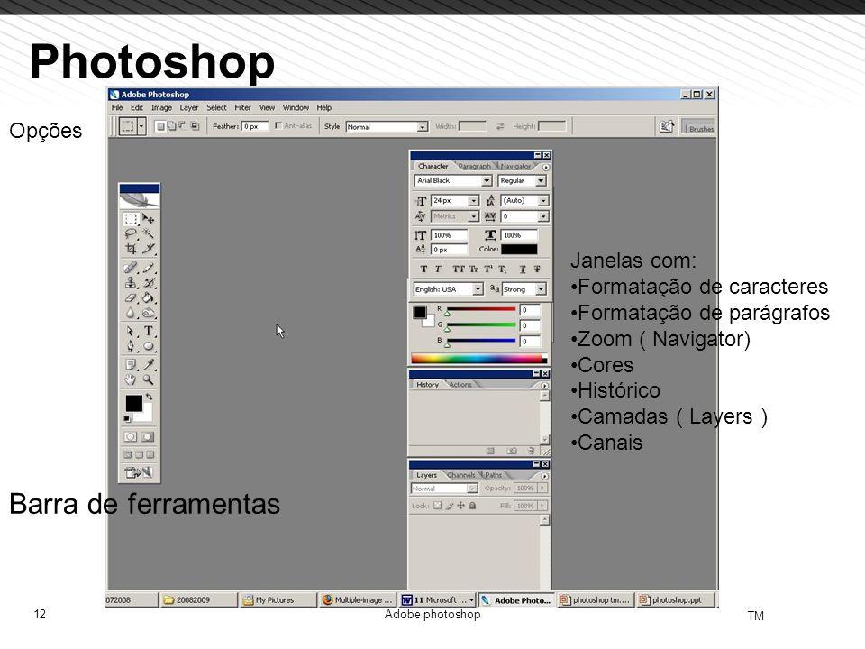 Photoshop Barra de ferramentas Opções Janelas com: