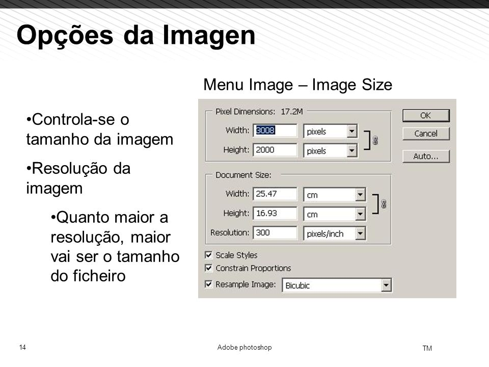 Opções da Imagen Menu Image – Image Size