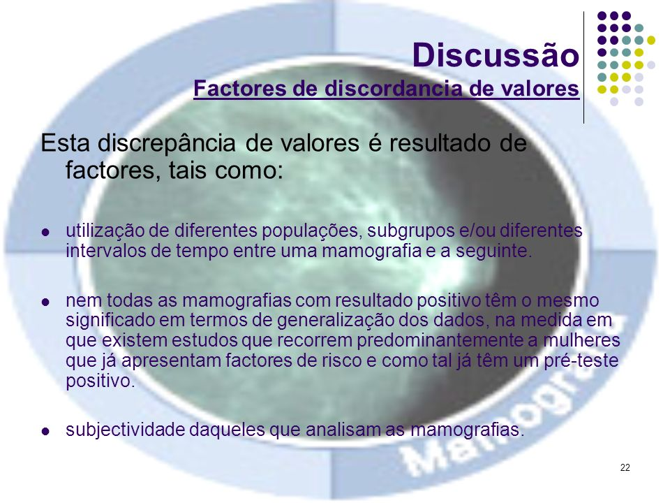 Discussão Factores de discordancia de valores
