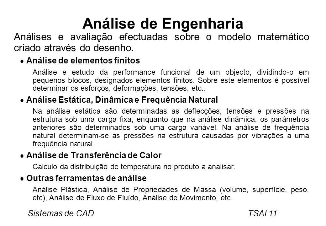 Análise de Engenharia Análises e avaliação efectuadas sobre o modelo matemático criado através do desenho.