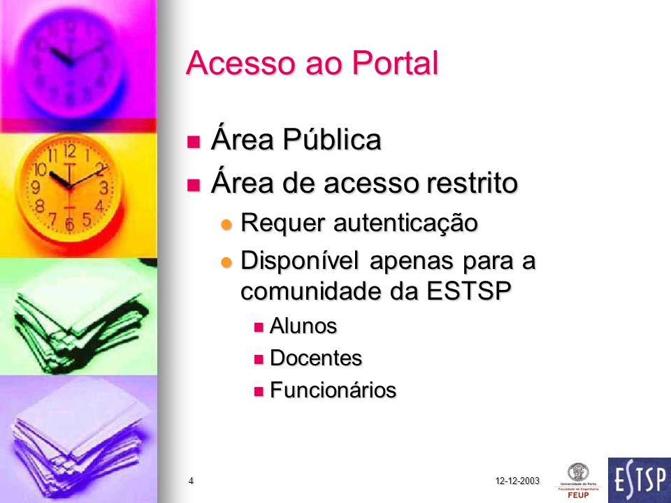 Acesso ao Portal Área Pública Área de acesso restrito