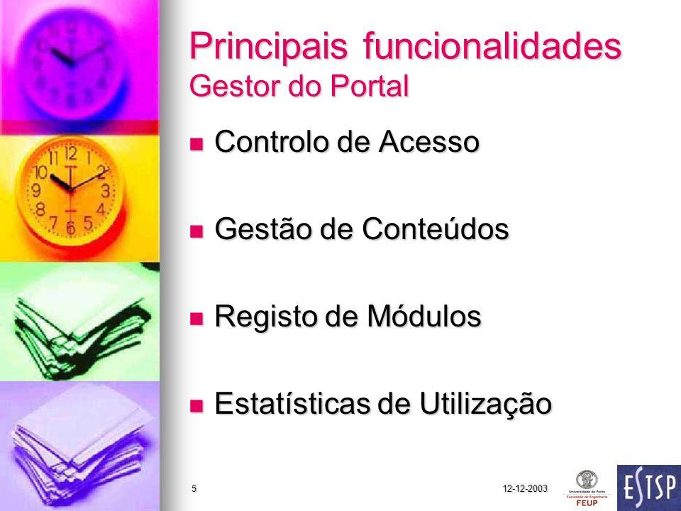 Principais funcionalidades Gestor do Portal