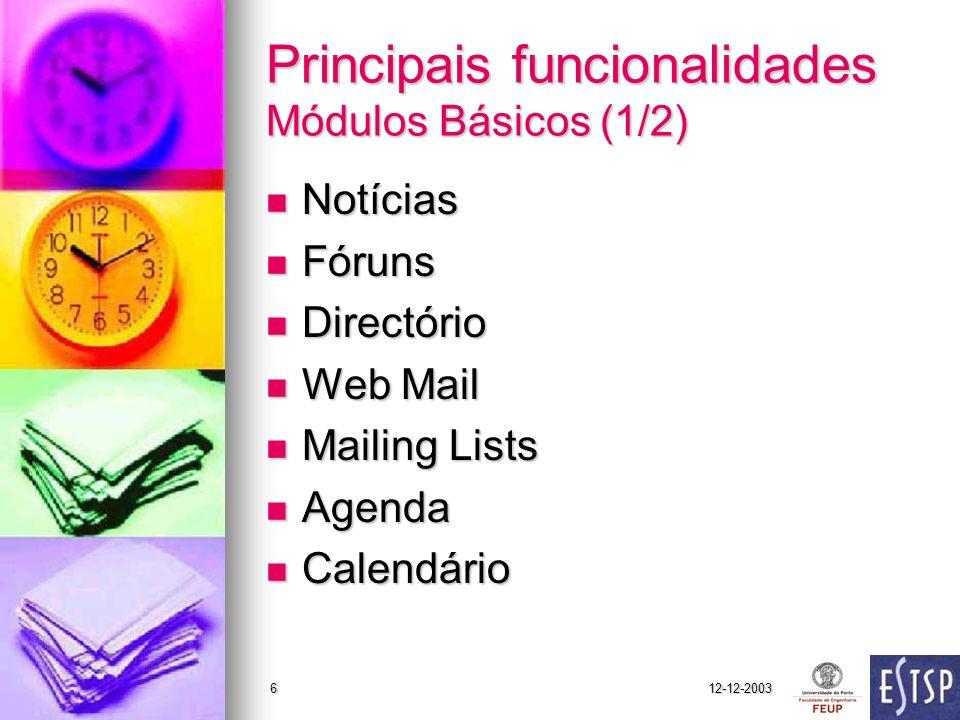 Principais funcionalidades Módulos Básicos (1/2)