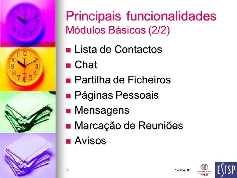 Principais funcionalidades Módulos Básicos (2/2)