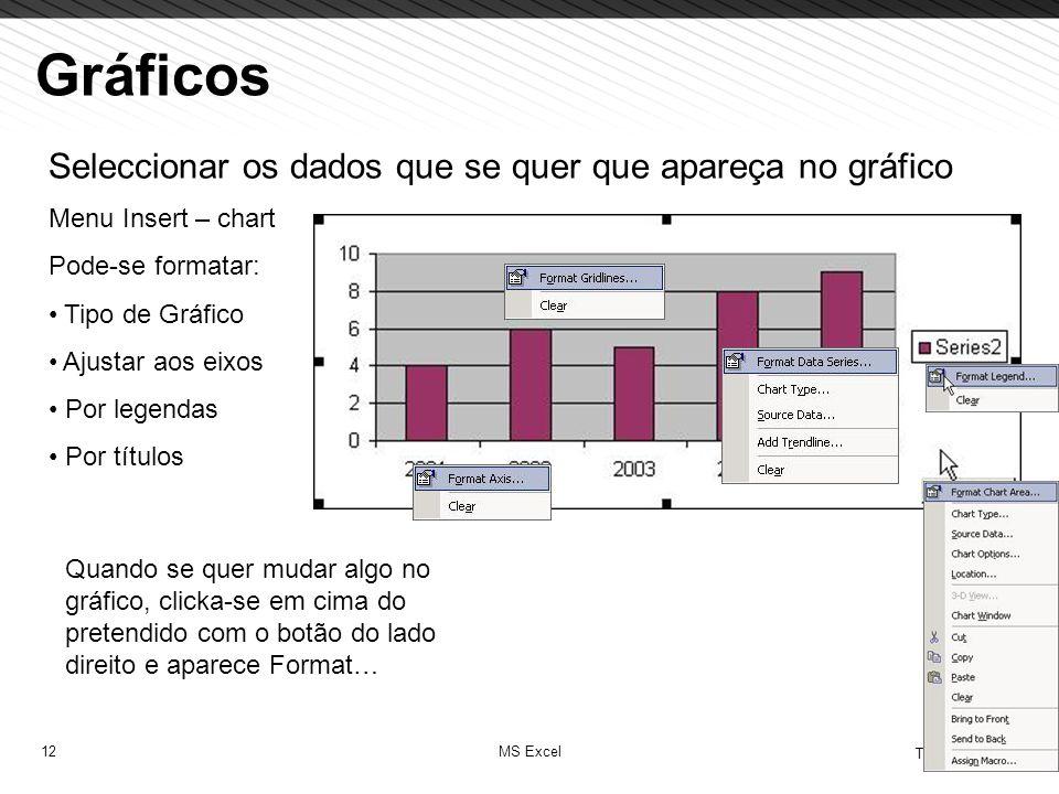 Gráficos Seleccionar os dados que se quer que apareça no gráfico