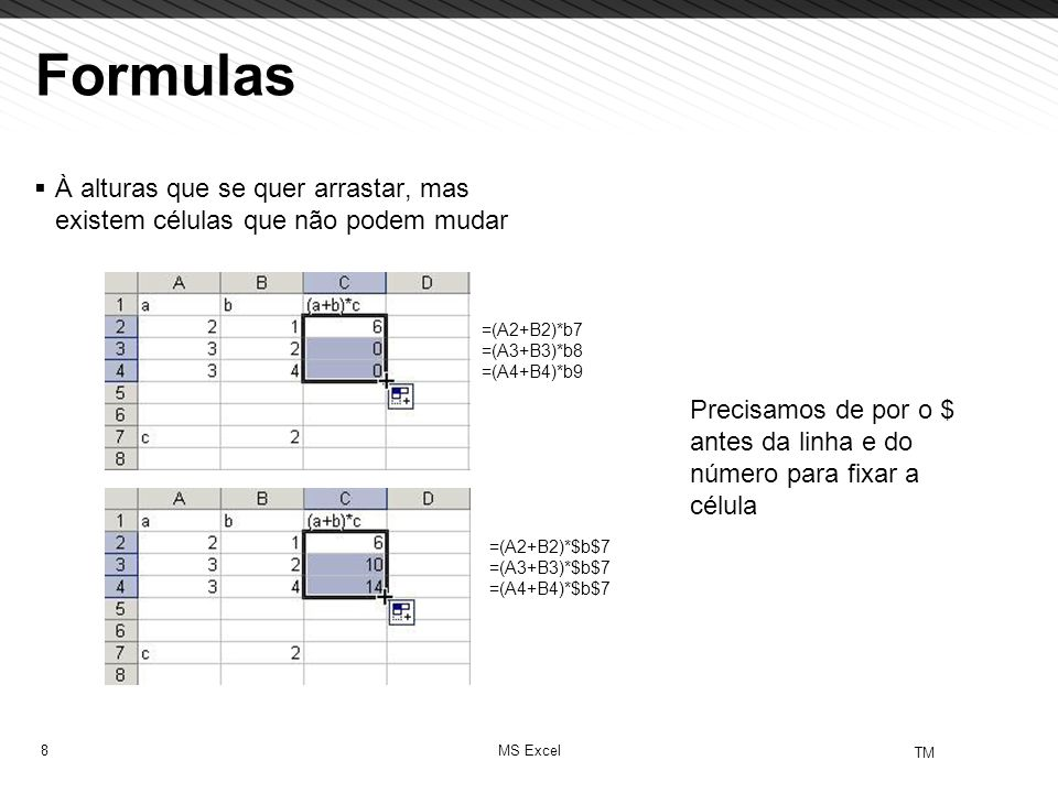 Formulas À alturas que se quer arrastar, mas existem células que não podem mudar. =(A2+B2)*b7. =(A3+B3)*b8 =(A4+B4)*b9.