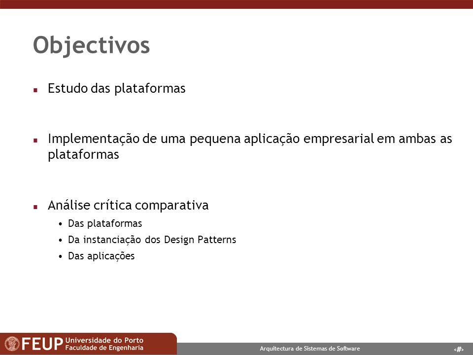 Objectivos Estudo das plataformas