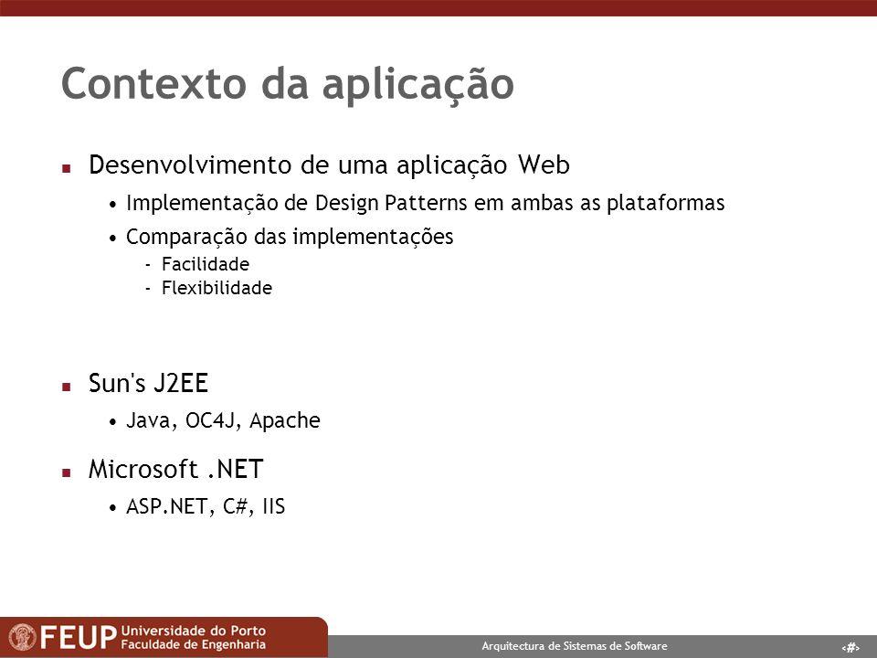 Contexto da aplicação Desenvolvimento de uma aplicação Web Sun s J2EE