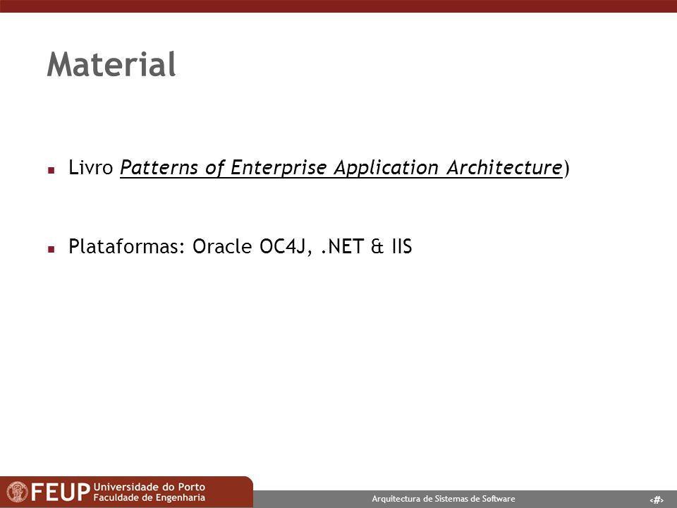 Material Livro Patterns of Enterprise Application Architecture)