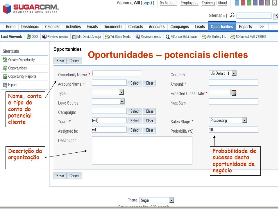 Oportunidades – potenciais clientes