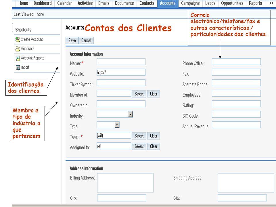 Correio electrónico/telefone/fax e outras características / particularidades dos clientes.