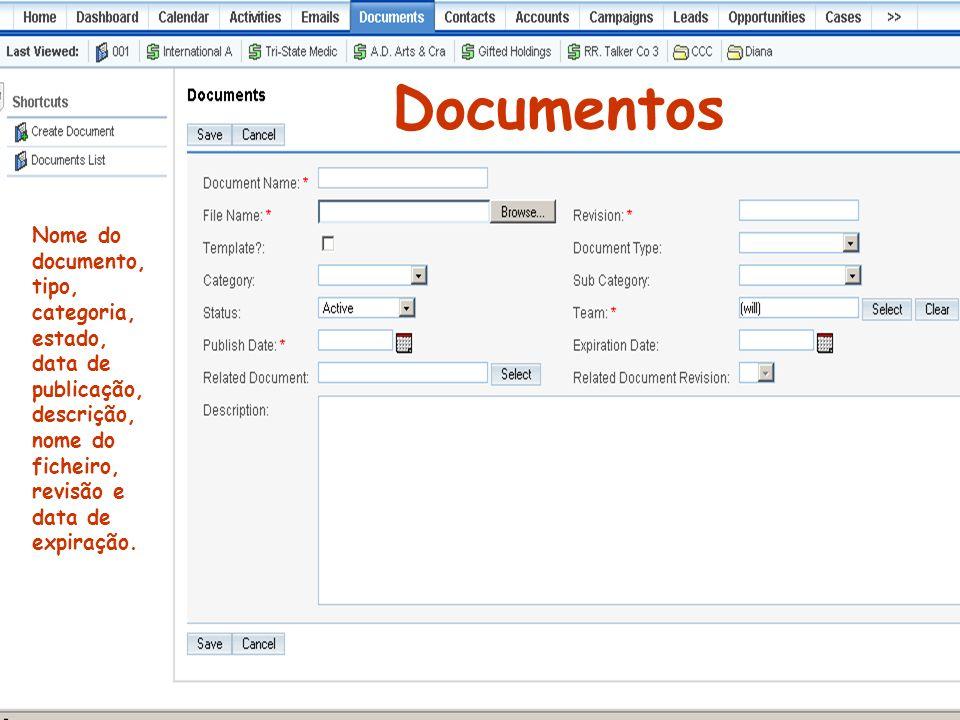 Documentos Nome do documento, tipo, categoria, estado, data de publicação, descrição, nome do ficheiro, revisão e data de expiração.
