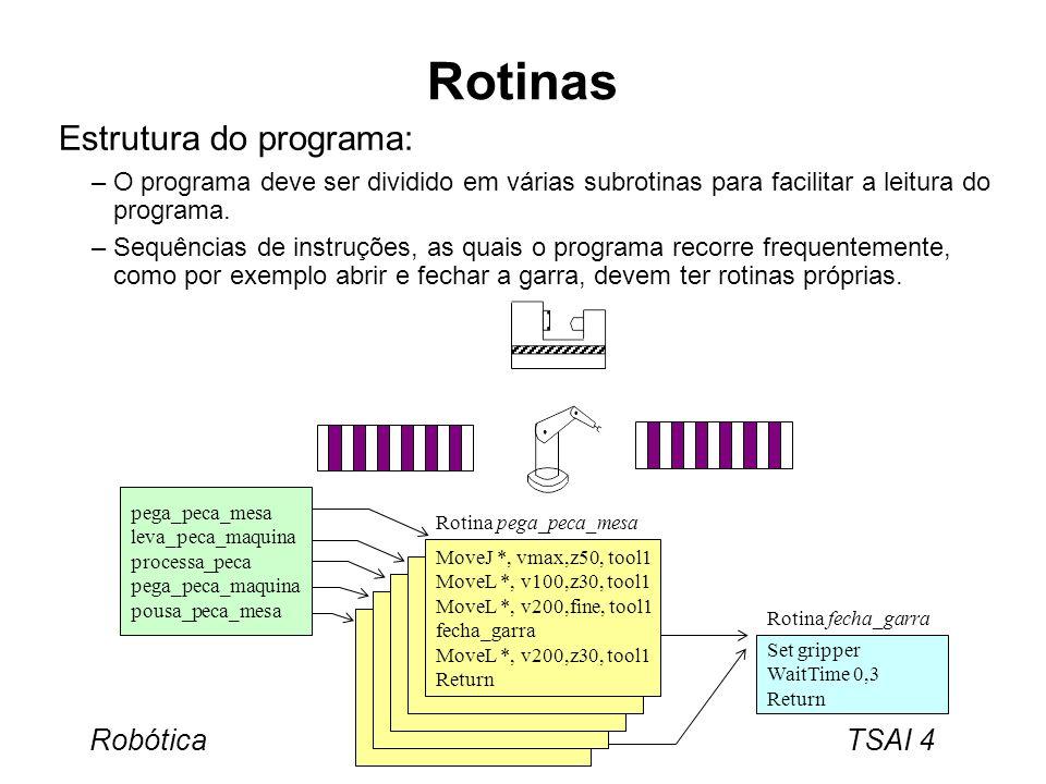 Rotinas Estrutura do programa:
