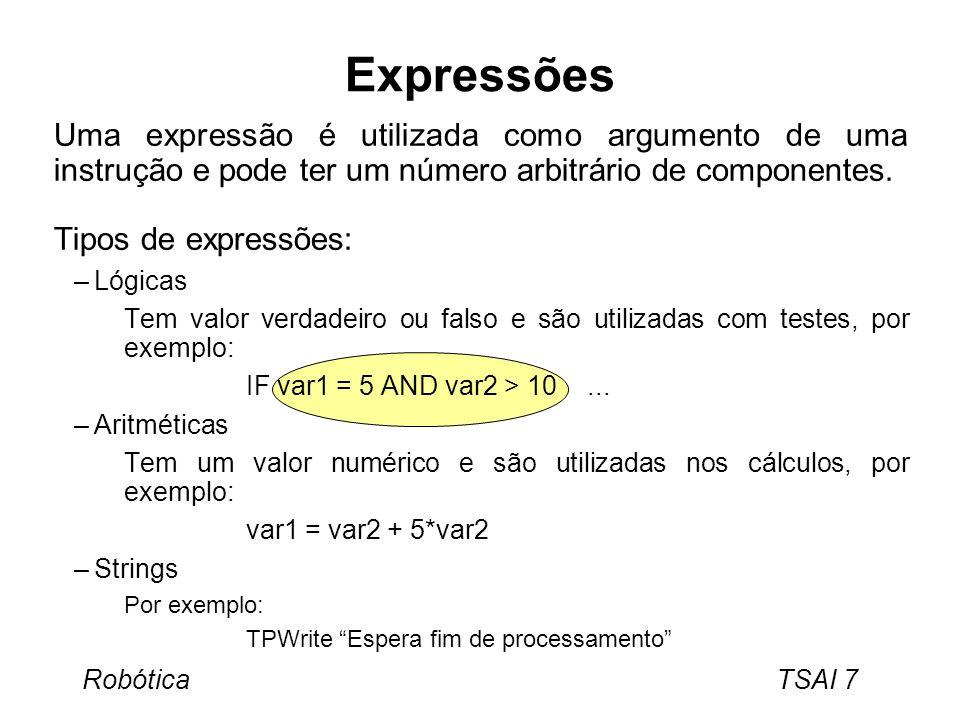 Expressões Uma expressão é utilizada como argumento de uma instrução e pode ter um número arbitrário de componentes.