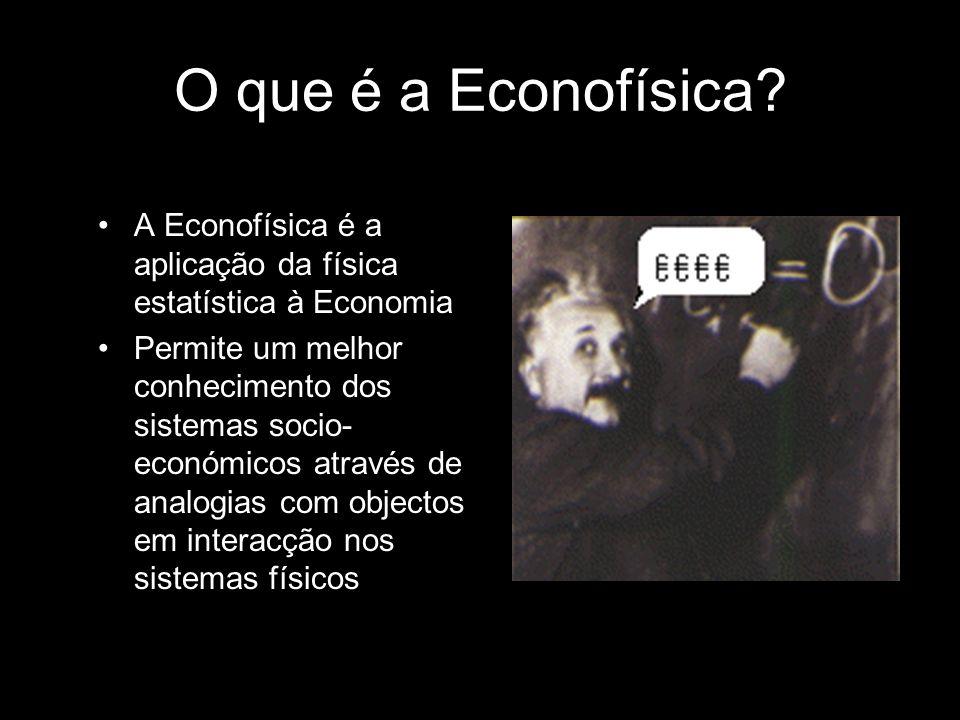O que é a Econofísica A Econofísica é a aplicação da física estatística à Economia.