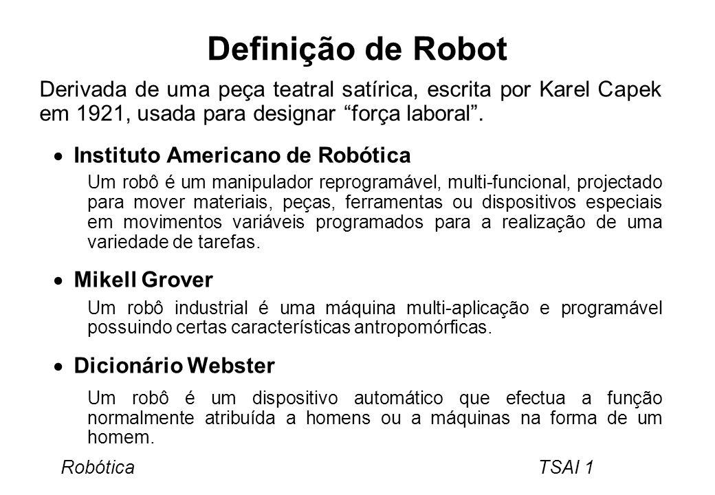 Definição de Robot Derivada de uma peça teatral satírica, escrita por Karel Capek em 1921, usada para designar força laboral .