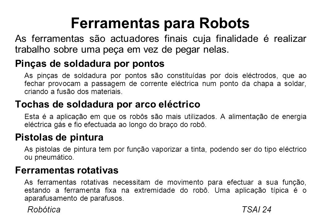 Ferramentas para Robots