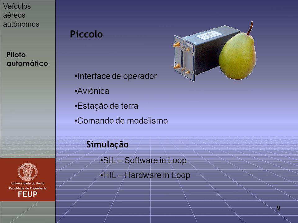 Piccolo Simulação Interface de operador Aviónica Estação de terra