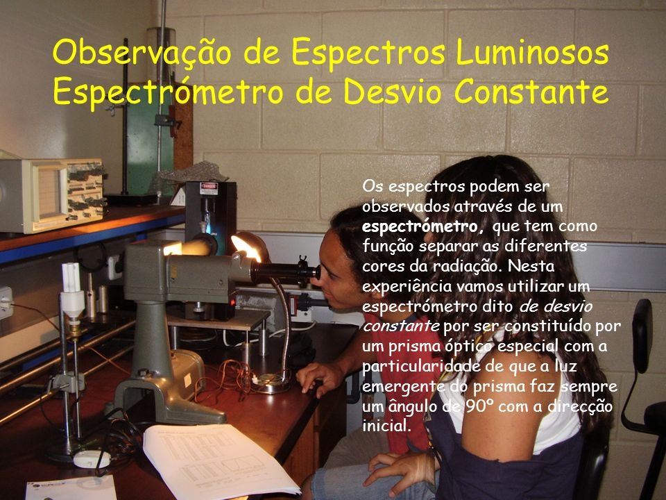 Observação de Espectros Luminosos Espectrómetro de Desvio Constante