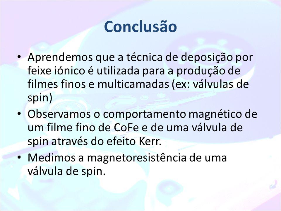 Conclusão Aprendemos que a técnica de deposição por feixe iónico é utilizada para a produção de filmes finos e multicamadas (ex: válvulas de spin)