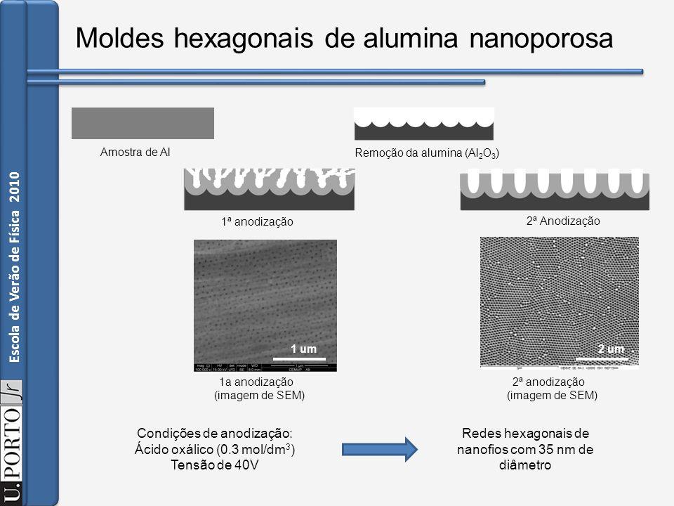 Moldes hexagonais de alumina nanoporosa