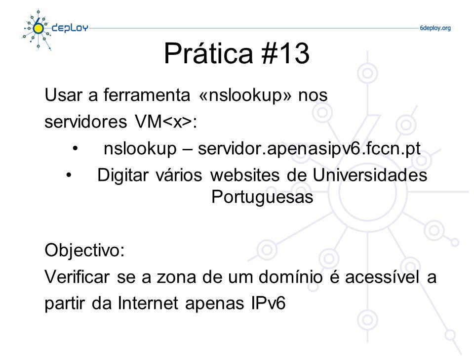 Prática #13 Usar a ferramenta «nslookup» nos servidores VM<x>: