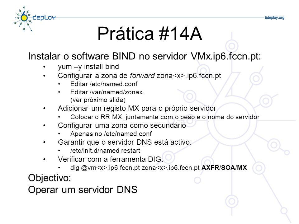 Prática #14A Instalar o software BIND no servidor VMx.ip6.fccn.pt: