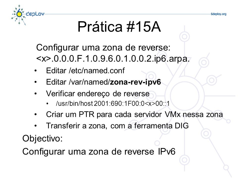Prática #15A Configurar uma zona de reverse: <x>.0.0.0.F.1.0.9.6.0.1.0.0.2.ip6.arpa. Editar /etc/named.conf.