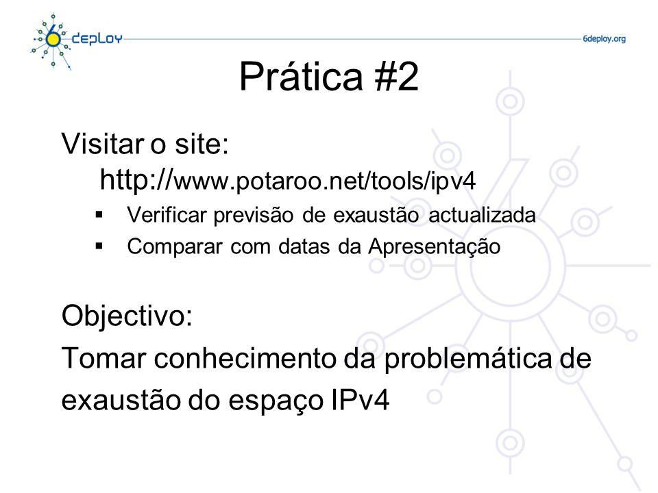 Prática #2 Visitar o site: http://www.potaroo.net/tools/ipv4