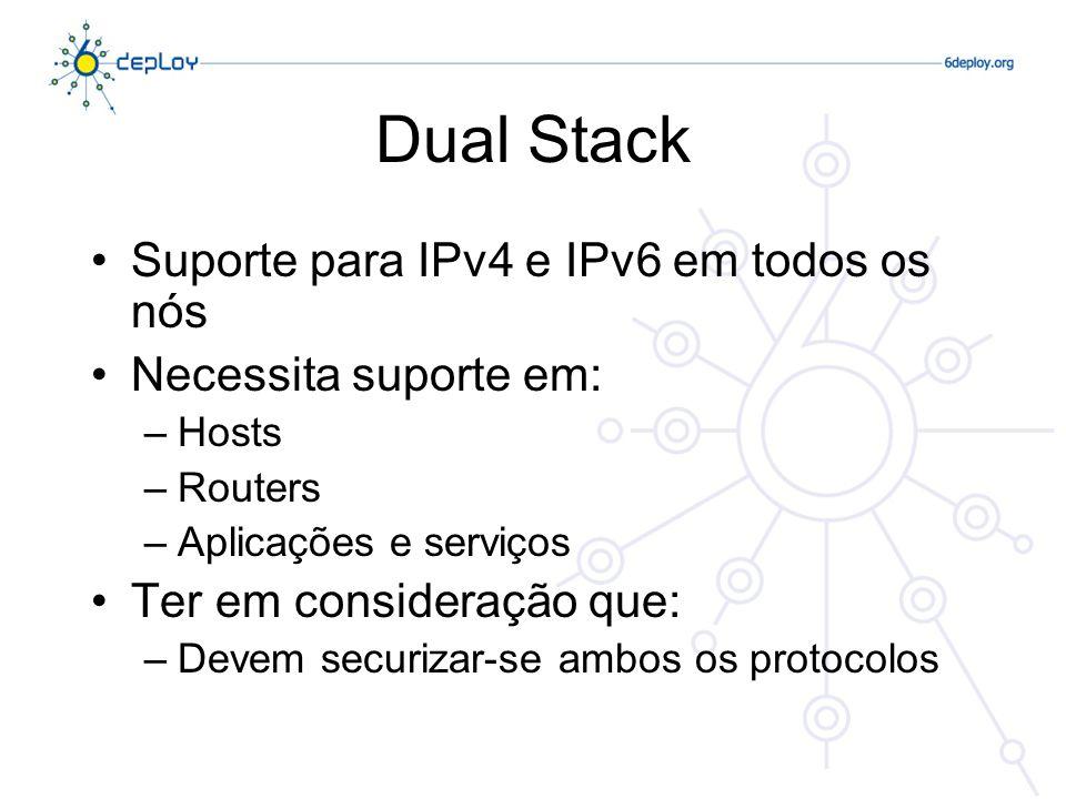 Dual Stack Suporte para IPv4 e IPv6 em todos os nós