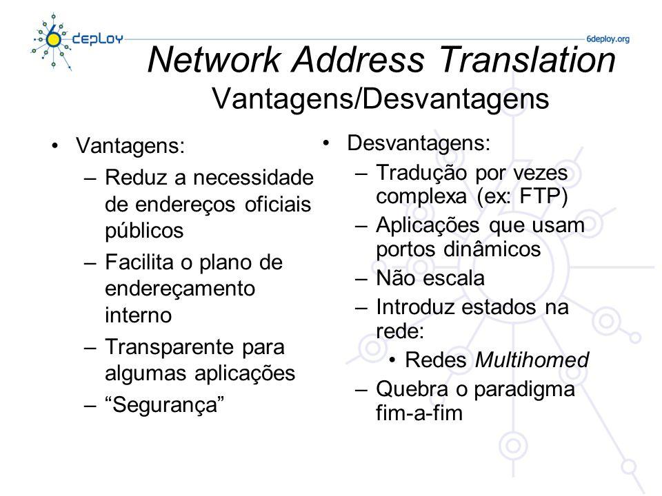 Network Address Translation Vantagens/Desvantagens