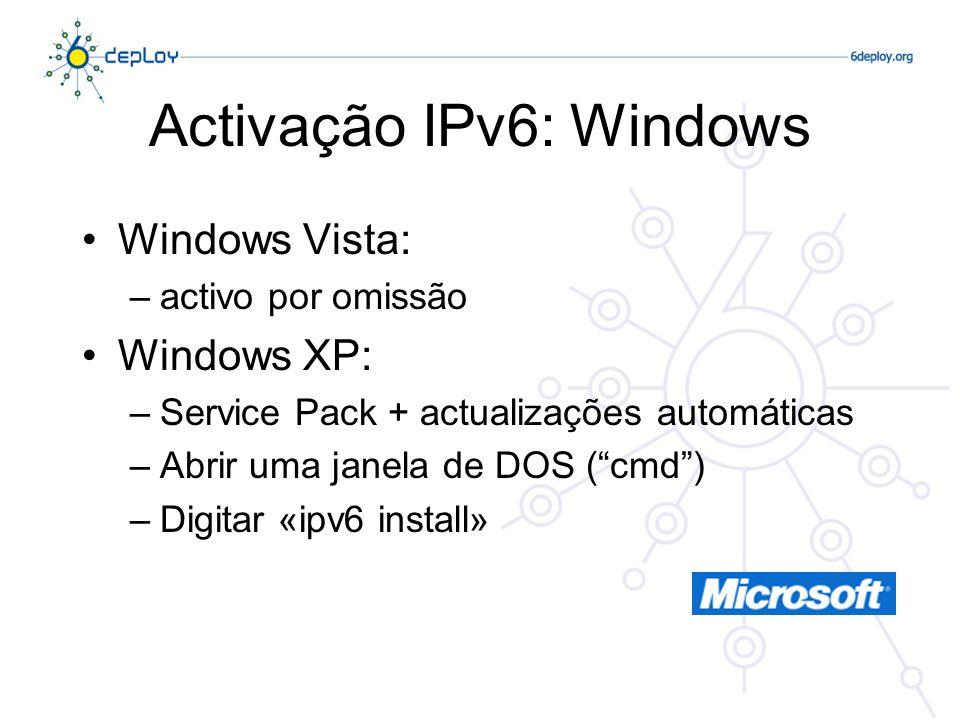 Activação IPv6: Windows